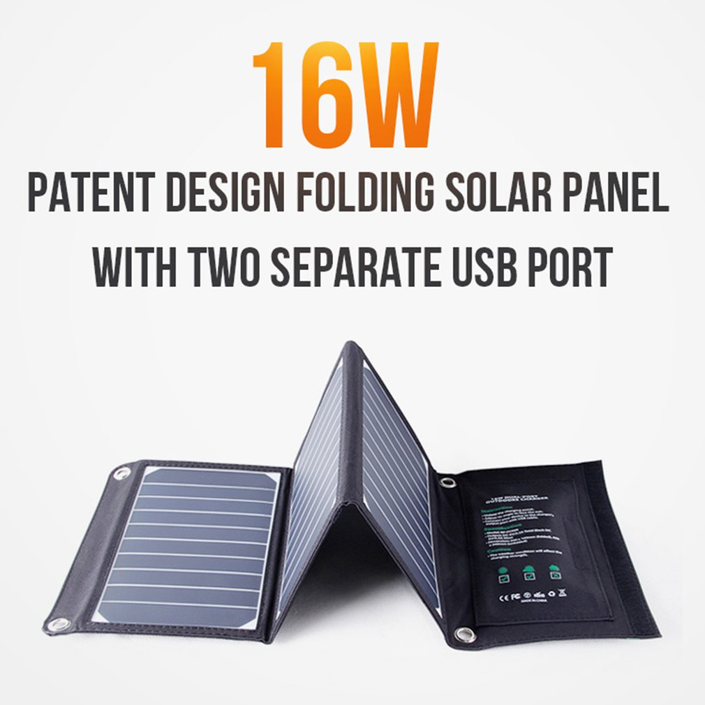 16W Folding Solar Panel Mobile Phone Charger Backpack Charger With Dual Usb Outdoor Camping Travel Multi Function Charger