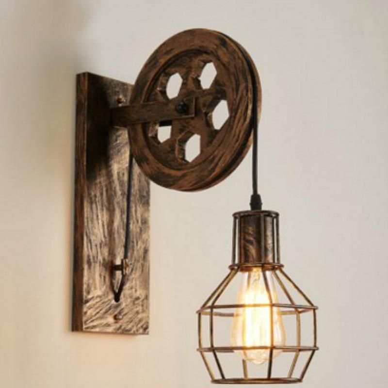 Creative Lifting Pulley Wall Lamp Retro Iron Loft Light Dining Hall Corridor Room Decorative Light Fixture Home Decor Wall Light