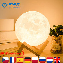 3D Print Decoration Lights Two Colors Touch Control Recharge Moon Light Night Decor Creative Gifts For Child Moonlight LED Lamps