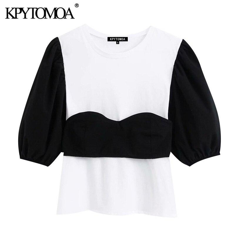 KPYTOMOA Women 2020 Fashion Patchwork Back Bow Tied Blouses Vintage O Neck Puff Sleeve Female Shirts Blusas Mujer Chic Tops