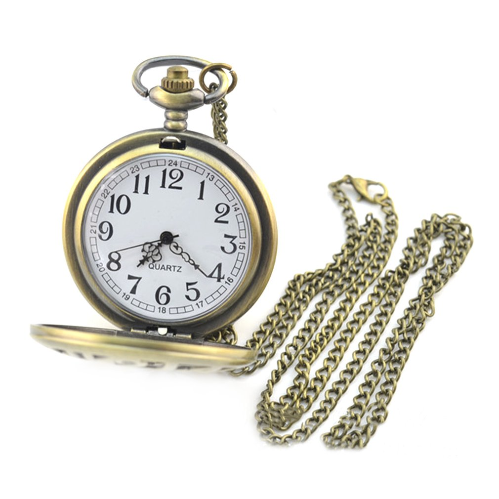Lover's Bronze Vintage Antique Skull Head And Gun Pattern Pocket Watch Necklace Pendant Clock Pocket Watch With Chain