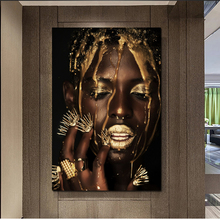 Modern Black Woman Model Wallpaper Oil Painting Posters Wall Art Canvas Unique Gift For Home Decoration
