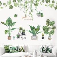 Verde hojas de pegatinas de pared Artificial plantas en maceta Bonsai flor DIY etiqueta de la pared para la decoración del hogar Mural para sala de estar decoración de arte