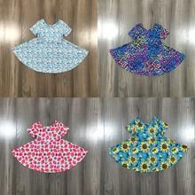 Twirl Dress Short-Sleeve Sunflower Rainbow Milk Silk Strawberry Girlymax Baby-Girls Summer Children