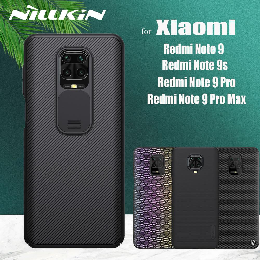 Nillkin Slide Camera Lens Protect Case for Xiaomi Redmi Note 9 Pro Max 9s Note9 Frosted Hard Textured Soft Silicon Cover Cases