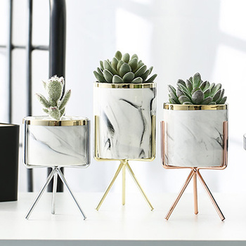 Nordic Ceramic Iron Art Vase Marble Pattern Rose Gold Silver Tabletop Green Plant Pot Home Office Vases Decorative 1