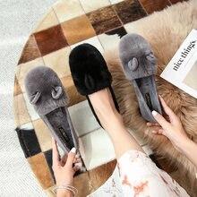 Zapatos planos de terciopelo para niña, calzado de punta redonda, supersuave, con pelo de conejo, boca poco profunda, para otoño e invierno, 2020