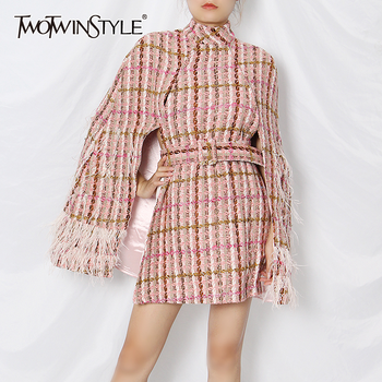 TWOTWINSTYLE Plaid Patchwork Tassel Jacket For Women Turtleneck Long Sleeve High Waist With Sashes Pink Casual Coat Female 2020 - discount item  39% OFF Coats & Jackets