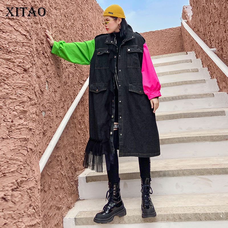 XITAO Plus Size Patchwork Mesh Hit Color Trench Women Clothes Fashion Casual 2020 Spring New Turn Down Collar Coat Top ZLL4705