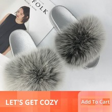 Fur Slippers Women Fox Furry Slides Fluffy Home Summer Shoes Woman Flip Flops For Ladies Luxury Brand Size 39-41