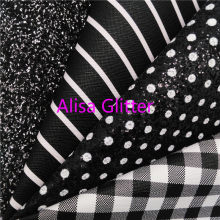 1PCS A4 SIZE 21X29cm Alisa Glitter BLACK Glitter Fabric, Tartan Stripes Faux Leather Fabric,Synthetic Leather for Bow DIY G37C(China)