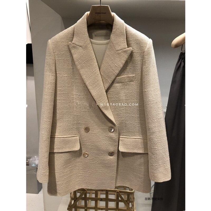 Luksusowa marka tweed marynarka góry wysokiej jakości projektant żakiet z dzianiny dresowej kobiet szczupła żakiet z dzianiny dresowej beżowy kolor 2019 nowy w Marynarki od Odzież damska na  Grupa 1