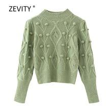 Zevity – pull en tricot à manches longues pour femme, chandail chic, décontracté, couleur unie, nouvelle mode, S309