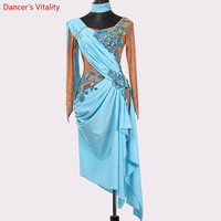 Women Latin Dance Wear Racing Performance Costume Embroidered 2 Colors Dress Professional Rumba Samba Tango Dancing Stage Outfit