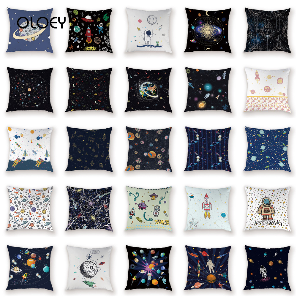 Space Science Cushion Cover Cartoon Cosmic Dart Pad Cover Space Ship Decoration Home Cushion Cover Car Bedroom Home Decoration .