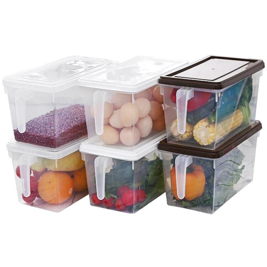 1 шт. прямоугольные большие контейнеры для хранения продуктов с ручкой, покрытые пластиковой коробкой для хранения-отлично подходит для мук...