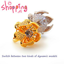 18k Gold Color Finger Flower Ring for Women with AAA Multicolor Cubic Zircon Wedding ring  Jewelry Accessory romad women fashion jewelry multicolor crystal ring with aaa cubic zircon wedding ring