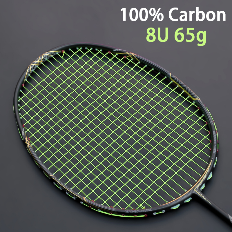 Professional Super Light 8U 65-68G Carbon Fiber Badminton Rackets With String Bags Racquet Z Speed Force Racket Sports Padel