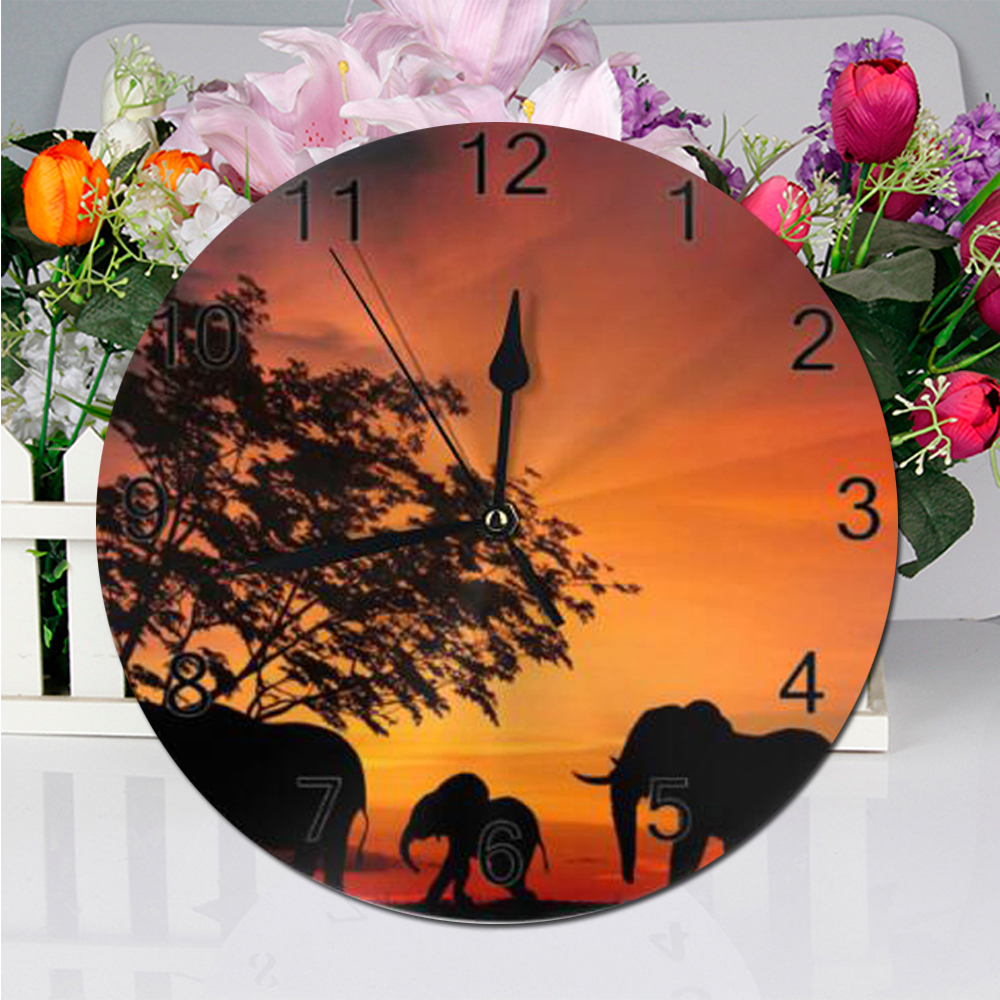 25cm Wall Clock Elephant Animal Numeral Digital Dial Mute Silent Non-ticking Electronic Wall Clock Battery Operated Living Room
