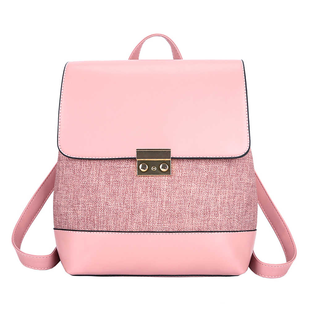 Fashion Women Backpack Patchwork Shoulder Bags For Youth Girl School Bags High Quality Leather Teenage light Travel Bags Female