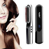 Men Women Easy Use Fast Heat Wireless Home Wet Dry USB Charging Hair Straightener Travel Curling Iron Styling Comb Multifunction
