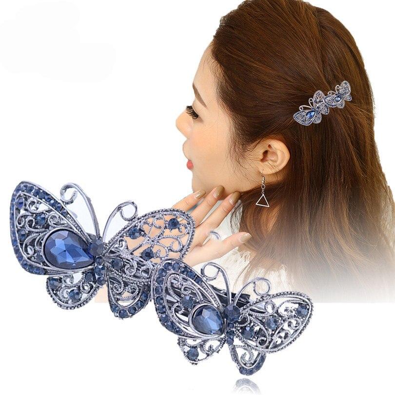 Haimeikang Vintage Crystal Butterfly Hair Clip Barrettes for Women Hair Accessories Rhinestone Flower Hairpin Headwear