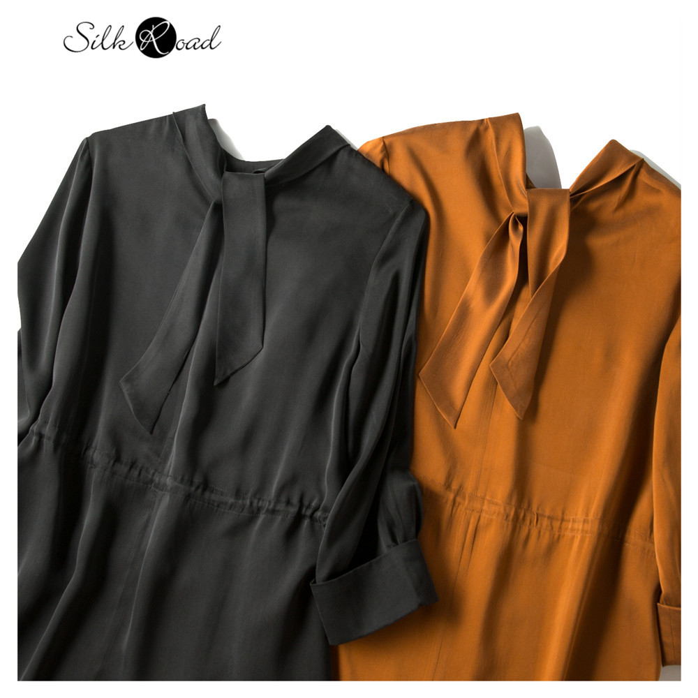 Silviye Silk dress silk temperament small stand collar medium length Party middle sleeve dress spring and autumn new style
