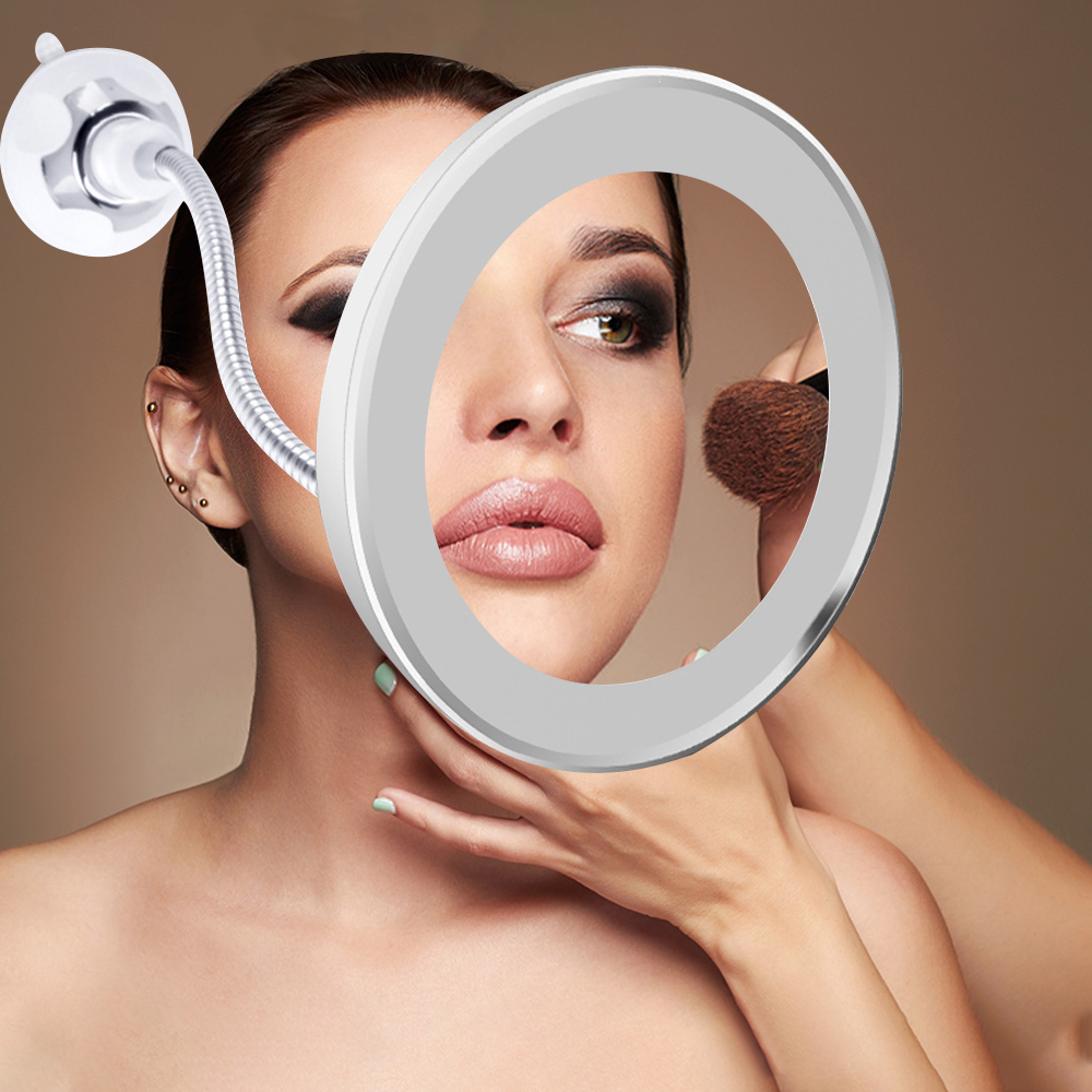 360 Degree Rotation 10X Magnifying Glass Makeup Mirror Led Night Flexible Vanity Table Mirror Magnifier Lamp Fill-in Light Tools
