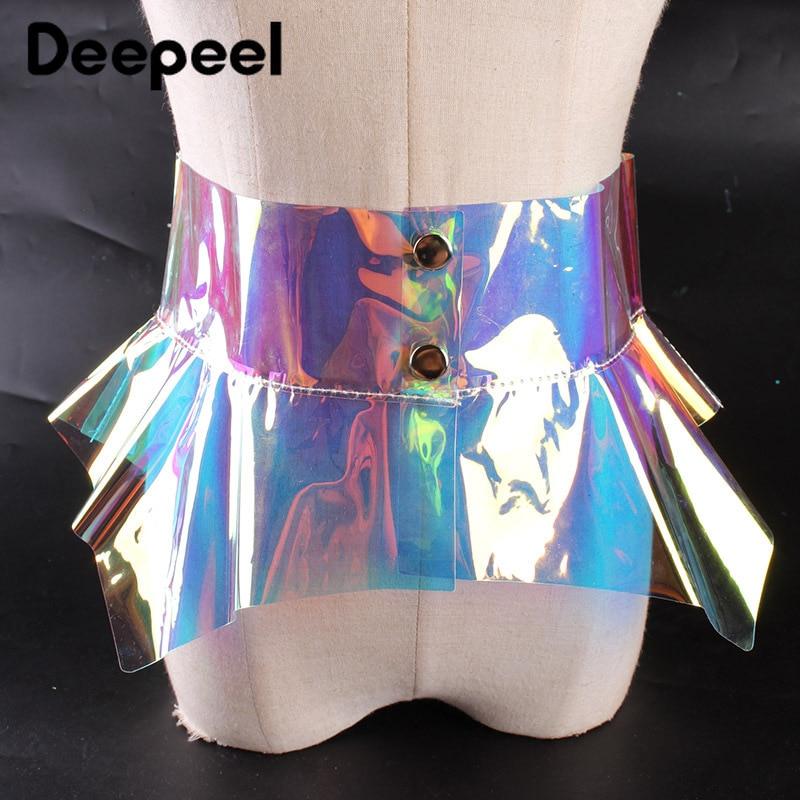 Deepeel 1pc 21.5cm*71cm Women PVC Transparent Cummerbunds Irregular Lotus Leaf Edges Colorful Wide Girdle Adjustable Waist Skirt