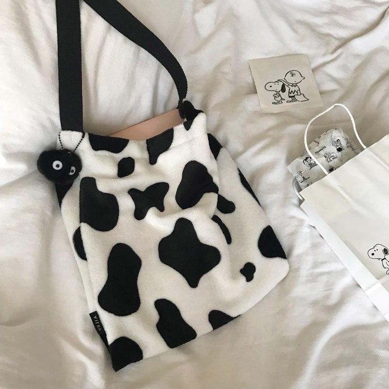 Cute Cow Pattern Women Handbags Designer Shoulder Bag Luxury Plush Messenger Bag Large Capacity Totes Lady Buckets Bag Big Purse