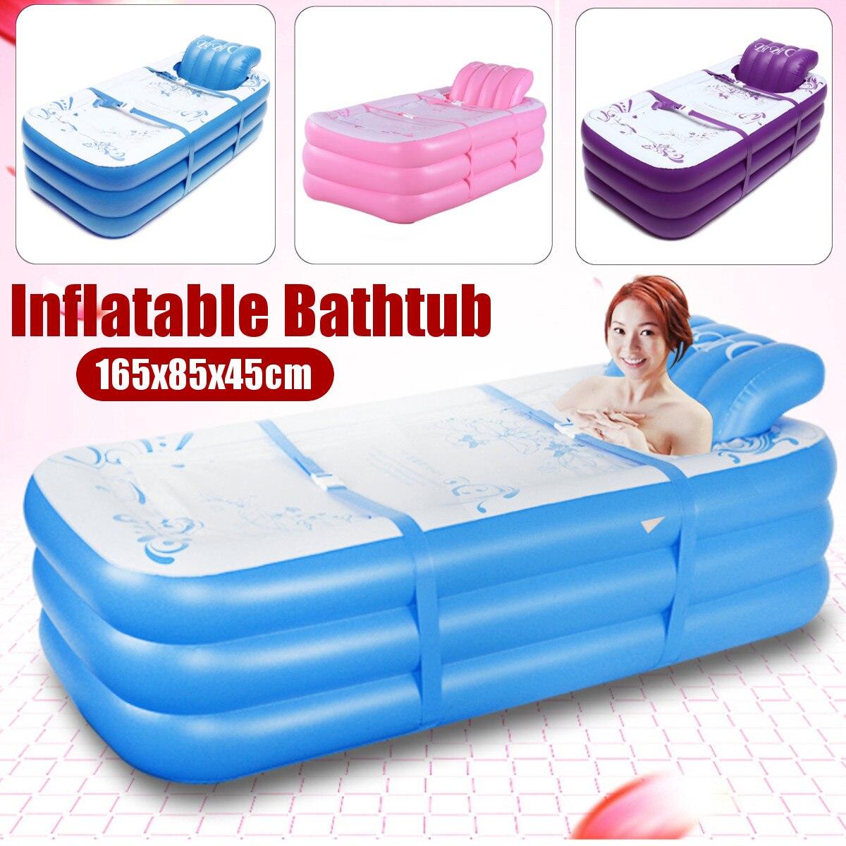165X85X45cm baignoire pliable baignoire gonflable pour adultes garder au chaud baignoire de piscine avec pompe à Air baignoire