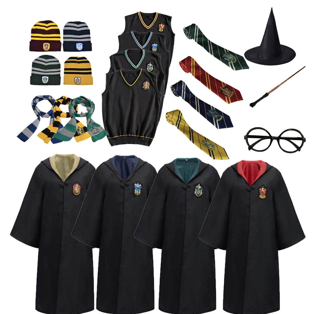 Adults Children Cosplay Robe Slytherin Gryffindor Ravenclaw Hufflepuff Potter Costume Disfraz Potter Wand Kids Party Gift