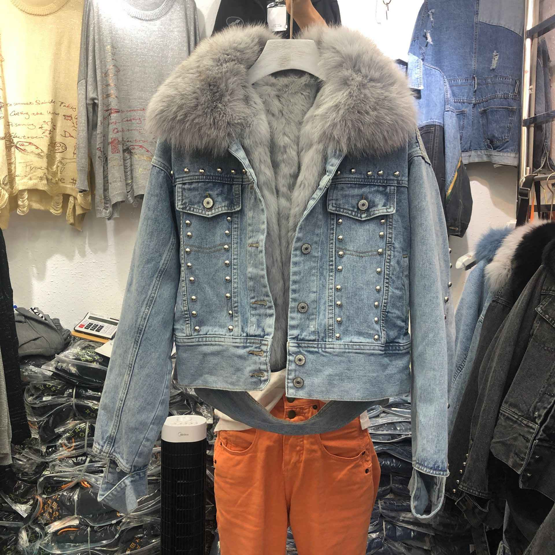 Winter Warm Jacket Women Rivets Plus Thick Real Fox Fur Collar + Real Rabbit Hair Liner Denim Coat Female Jeans Parkas Jackets
