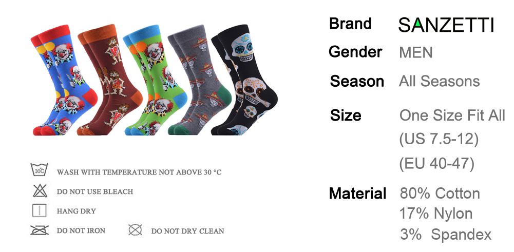 MYORED 5 pair//lot men/'s novelty funny socks cotton crew painting socks casual dr