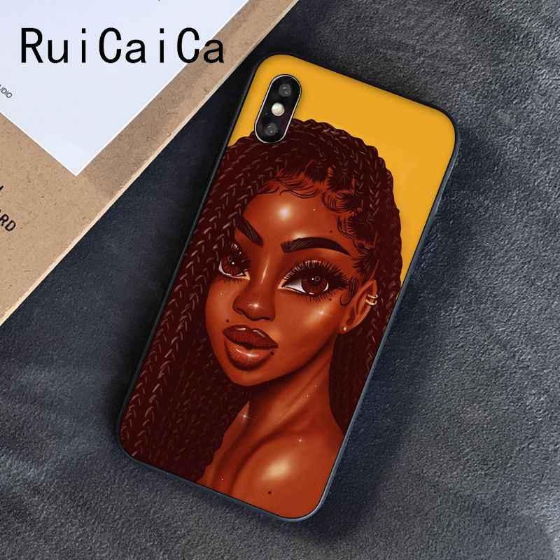 Ruicaica magia negra chica melanina Poppin reina cliente teléfono caso para iPhone 8 7 6 6S 6Plus X XS MAX 5 5S SE XR 10 cubierta