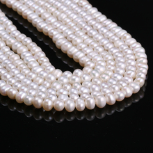 Hot 5-6mm White Natural Freshwater Cultured Pearls Beads Round 100% for Jewelry Making Necklace 14 Inches