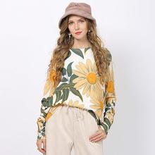 Женский свитер большого размера с принтом ромашки Осенний Повседневный