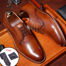 Men Genuine cow leather brogue wedding Business mens casual