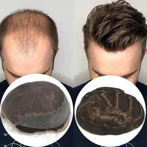 Image 1 - Saç ünitesi erkekler için Q6 taban erkek örgü ünitesi saç protezi peruk erkek saç parçaları