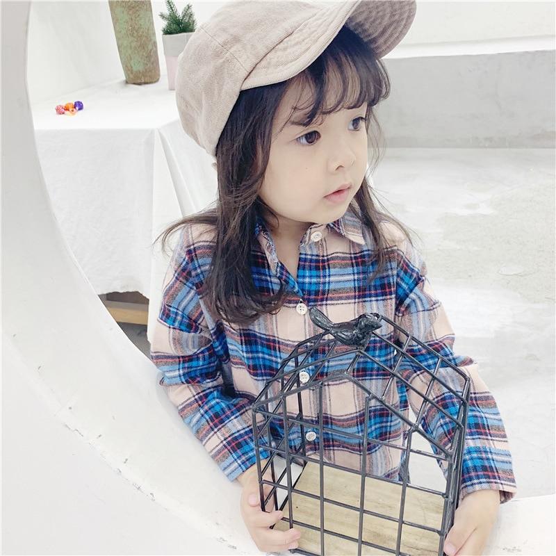 Рубашки для девочек Корейская рубашка с длинными рукавами для детей на осень, Новая Осенняя детская рубашка 2019 года, клетчатая рубашка блуз...