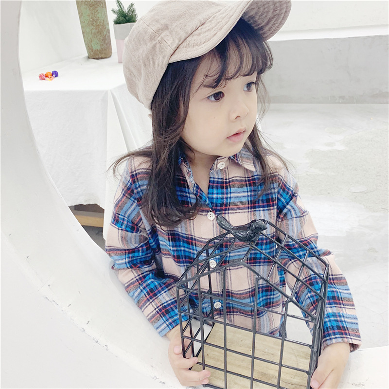 Girls shirts long-sleeved Korean shirt for childrens in autumn new kids 2019 plaid girls blouse
