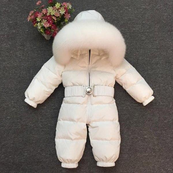 Winter Kids Girls Boys Snowsuit Jumpsuit Baby White Duck Down Jackets  Real Big fox Fur Hooded Rompers
