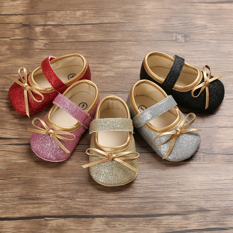 Baby Girl Cute Crib Shoes Bow Anti-Slip Casual Sneakers Toddler Soft Soled Princess First Walker Shoes 2020 Q