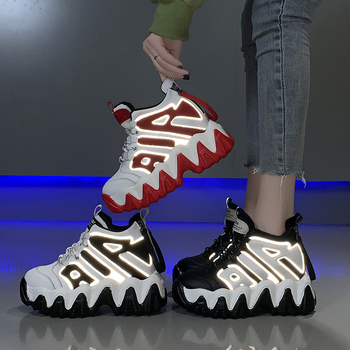 2020 дизайнерские женские кроссовки на платформе; кроссовки на танкетке 9 см, визуально увеличивающие рост; женская обувь; модная кожаная повс...