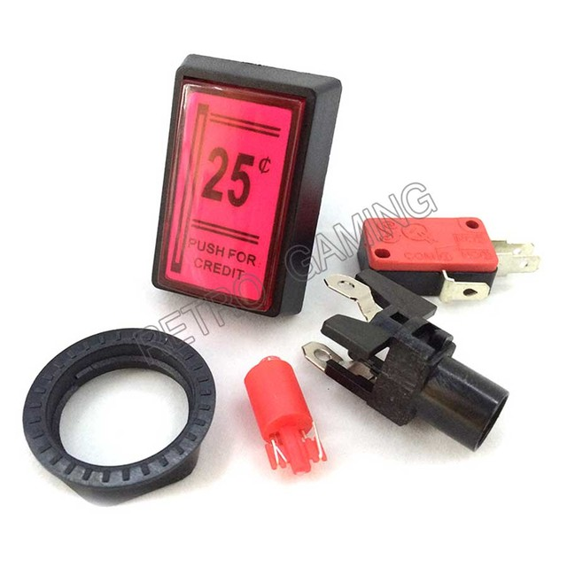 1pcs 25 cents Credit button Rectangle 12V /5V LED Illuminated Arcade Coin Operated Game Push Buttons with Micro Switch