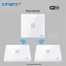Ue/uc b0nda o tipo de indução de interruptor de toque de casa inteligente fio não-tecido é ligado aleatoriamente ao painel de vidro temperado através