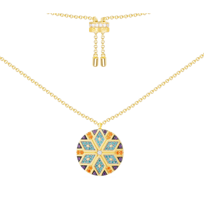 S925 pure silver high end micro inlaid colorful Tribal Necklace with Round PendantNecklaces