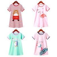 Camisón de unicornio de manga corta para niños, ropa de dormir de algodón para el hogar, pijamas para hija