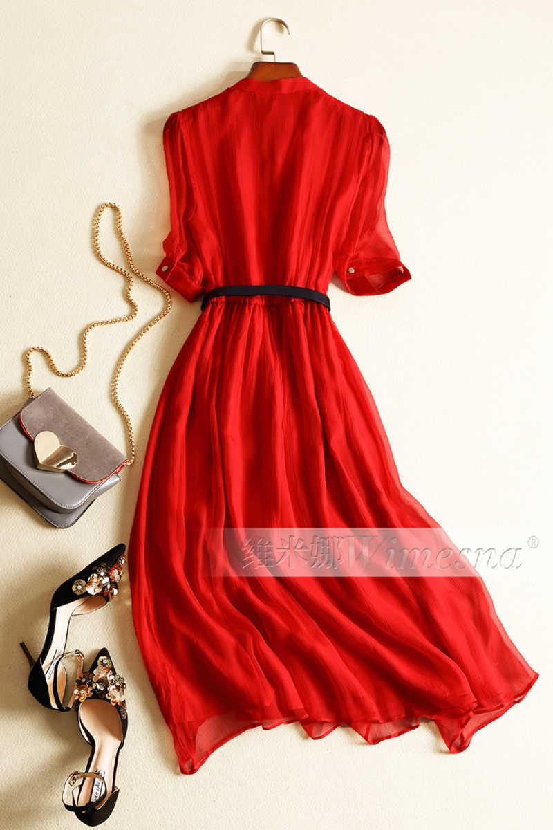 100% gerçek ipek yaz elbisesi kadın kıyafetleri Vintage zarif Maxi elbise 2020 bayanlar elbiseler ofis kırmızı elbise ile kemer Vestidos