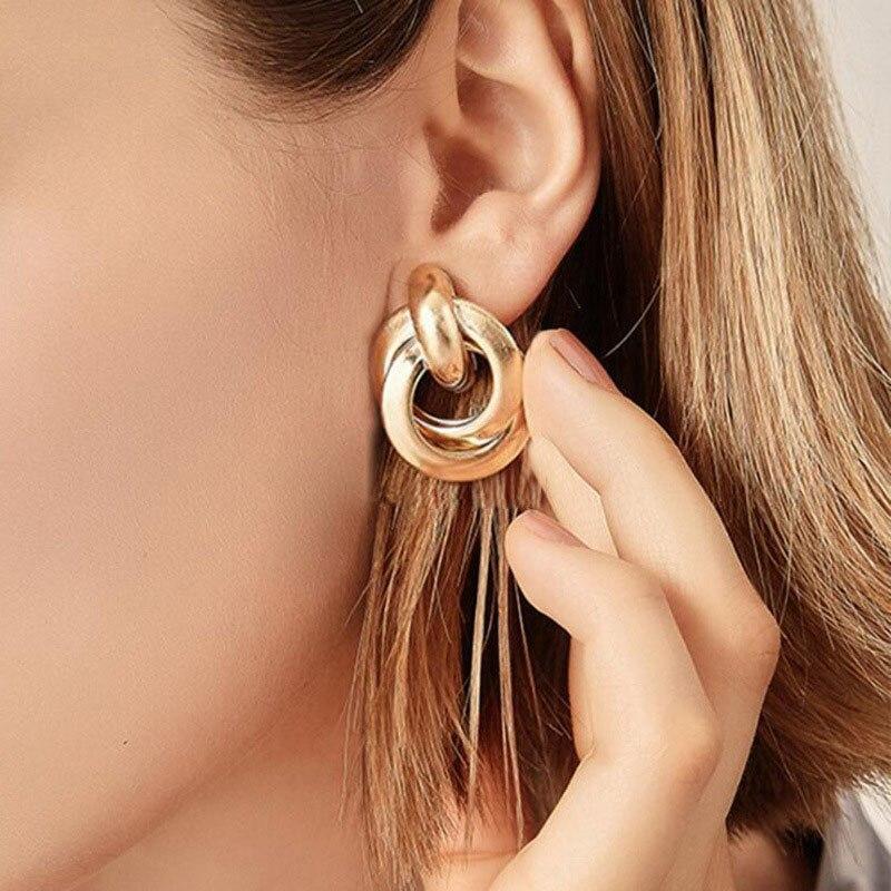 Fashion Metal Women Drop Earrings Hollow Geometric Dangle Earrings for Girls Punk Round Earrings Fashion Brincos Gift